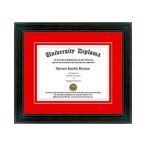 """Single Diploma Frame with Double Matting in our Black SPT 1.5"""" Wood Moulding"""