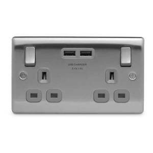 BG USB Electrical Double Wall Socket Brushed Crome With Grey Inserts