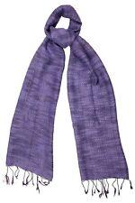 Viola Seta & Cotone Intreccio Sciarpa Con Trama-FAIR TRADE nuova con etichetta 180cm x 40cm