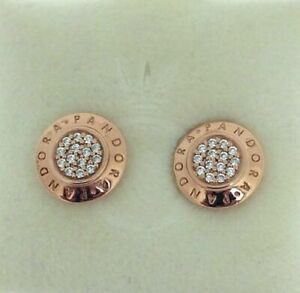 GENUINE PANDORA Rose Signature Stud Earrings 280559CZ UK FREE DELIVERY