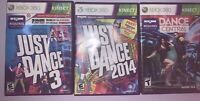 Xbox 360 Kinect Dance Central, Just Dance 2014, Just Dance 3 - Great Wii Lot