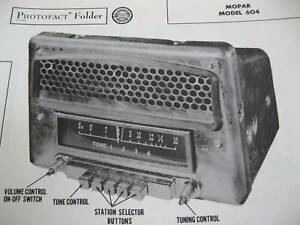 1949,1950 CHRYSLER, DODGE, PLYMOUTH, MOPAR 604 RADIO PHOTOFACT