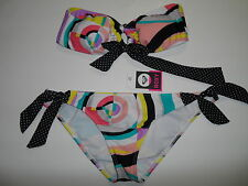 ROXY STOP AND GLOW SOLID ANGEL BANDEAU Top and Bottom Swimsuit  Size L-NWT