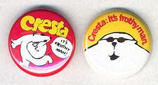 CRESTA BEAR pair of Badges Button Pins -COOL RETRO!