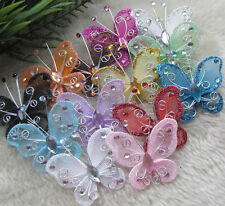 E340 U pick Organza wire butterfly wedding decorations more colors available