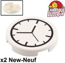 Lego - 2x Tile round decorated 2x2 clock horloge pendule aiguille 14769pb001 NEW