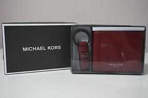 Michael Kors Men's Malbec Red Slim Billfold Wallet and Key Fob Set