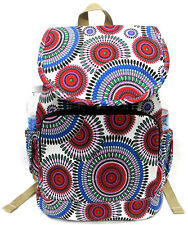 "16"" Canvas Backpack +Water Bottle Holder Southwest Native White w/Dream Catcher"