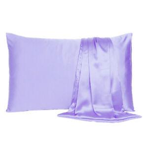 Luxurious Satin Silk Pillowcase Soft Bedding Standard Queen King Pillow Cover