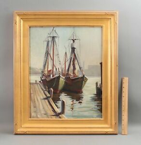 Antique 1949 PAUL GOODRIDGE Gloucester Fishing Boat Harbor Maritime Oil Painting