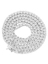 NEW Unisex 1 Row 925 Sterling Silver Bling Tennis Chain Necklace ANTI TARNISH