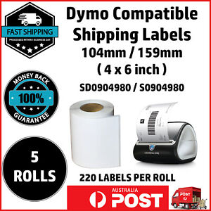 5 Rolls Compatible Dymo 4XL LabelWriter S0904980 Shipping Labels 104x159mm