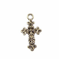 New silver fleur de lis unique crucifix cross pendant 3cm silver metal