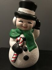 Vintage Ceramic Snowman With Candy Cane Christmas Snowman Ceramic Handmade