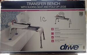 Drive Medical RTL12075 Folding Universal Sliding Transfer Bench - White