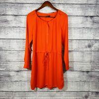 Gap Women's Long Sleeve 1/4 Button Tie Waist Blouson Salmon A Line Dress SZ S
