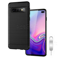 Carbon Fiber Tpu Soft Armor Case Cover for Samsung Galaxy S10+ / S10 Plus Phone