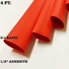 "4 Ft. RED 1/2"" 13mm ID Dual-Wall Adhesive 3:1 Ratio Heat Shrink Tubing M23053/4"
