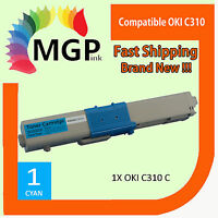 1x Compatible OKI C310 cyan toner cartridges for OKI C310dn C310n C330dn