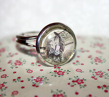 Cute Silver plated adjustable ring Alice In Wonderland Mad Hatter glass cabochon