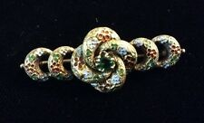 Antique Gold Victorian Enameled Flower & Green Stone Brooch Pin