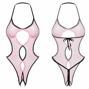 Sexy Womens High Cut Bodysuit Thongs Nightwear Lingerie Jumpsuit Mesh Sheer Tops