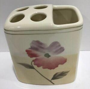 Floral (4) TOOTHBRUSH HOLDER Flower Bath Accessory Tan Light Brown Ceramic