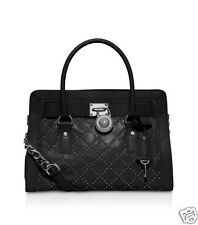 NWT $398 Michael Kors Leather Black Microstud Hamilton Quilted EW Satchel Bag