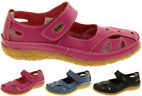 Womens Leather Sandals Ladies Comfort Flats Mary Jane Strap Shoes Size 4 5 6 7 8