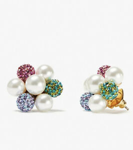 NWT Kate Spade Pearl Power Cluster Stud Pearl Multi color Earrings Gift