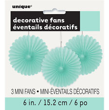 3 x Pretty Mint Green Paper Fans hanging Mint Party Decorations
