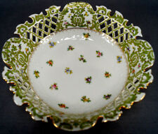 Ahrenfeldt Dresden Hand Painted Floral Green & Gilt Reticulated Bowl AS IS