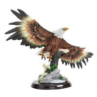 """Wingspan Bald Eagle Design Toscano Hand Painted 16"""" Wide Statue Solid Wood Base"""