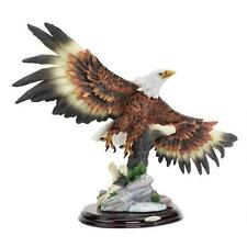 "Wingspan Bald Eagle Design Toscano Hand Painted 16"" Wide Statue Solid Wood Base"