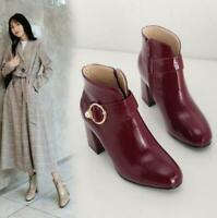 Womens Patent Leather High Block Heels Round Toe Ankle Riding Boots Shoes Haihk