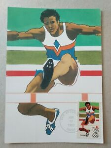 US 1984 Track And Field Olympics Painting Postal Card, Double 28c Stamped