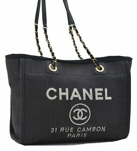 Authentic Chanel Deauville Line Denim Chain Shoulder Tote Bag Blue D5245