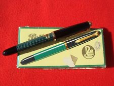 NEAR MINT PELIKAN 400 EF GREEN STRIPPED & BLACK F PEN WITH BOX PELIKAN GOLD NIB