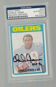 Charlie Joiner Signed 1972 Topps Rookie #244 -  PSA/DNA Authentic Auto #83523820