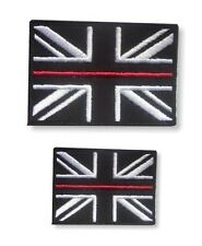 Thin Red Line Union Jack Hook & Loop Backed Patch SET Fire Fighter Fire & Rescue