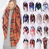 Unisex Womens Mens Cashmere Scarf Winter Warm Plaid Long Pashmina Shawl Wrap