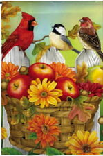 NEW MEADOW CREEK FALL GARDEN FLAG APPLES & ACORNS CARDINAL CHICKADEE  12.5  x 18
