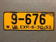 VINTAGE 1951 WEST VIRGINIA LICENSE PLATE YELLOW /BLACK 9-676 COOL!!