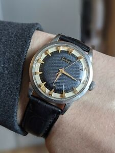 Mens Vintage Zodiac Glorious Black & Gold Dress Guilloche Dial Watch - Working