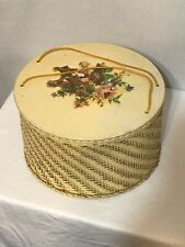 Harvey Sewing Storage Box Pink Woven Basket Vintage 1950s Lid with Flower Decal