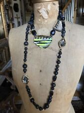 ALEXIS BITTAR - SET OF 2 - Black Wood Bead, Green Variegated Lucite Necklaces
