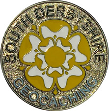 South Derbyshire Geocachers Geocoin - Antique Gold Geocaching Trackable