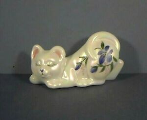 """3.75"""" Kitty Cat, White Peril Luster Finish, Hand Decorated, Fenton Art Glass"""