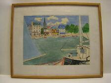 Claude BOUSSIER - VIEUX BASSIN HONFLEUR - Gouache sur papier - ART NAIF