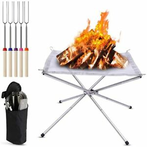 Portable Fire Pit, Outdoor 16.5 Inch Camping Folding Wood Burning Backpack Stove